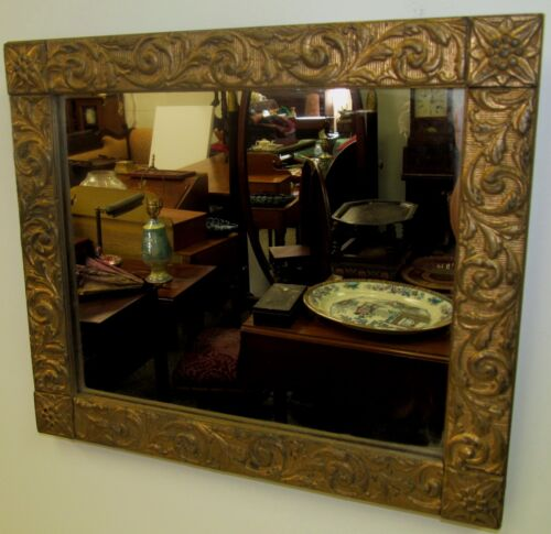 EARLY 19TH CENTURY FEDERAL PERIOD GOLD GILT GESSO RELIEF MIRROR