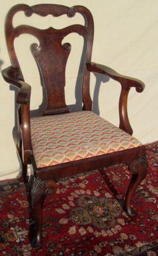EXCEPTIONAL QUEEN ARM CARVED ARM CHAIR IN BURLED WALNUT WITH SLIPPER FEET-LOOK!