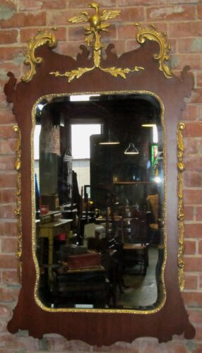 CHIPPENDALE STYLED LARGE CONSTITUTIONAL MIRROR WITH GOLD GILT HO HO PHOENIX BIRD