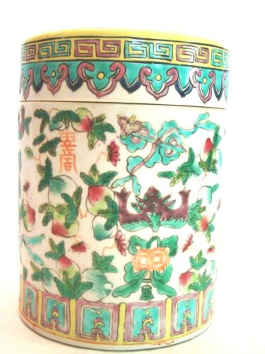 """Chinese Porcelain Tongzhi Famille Rose Peaches & Flowers Drum Covered Jar 6"""""""