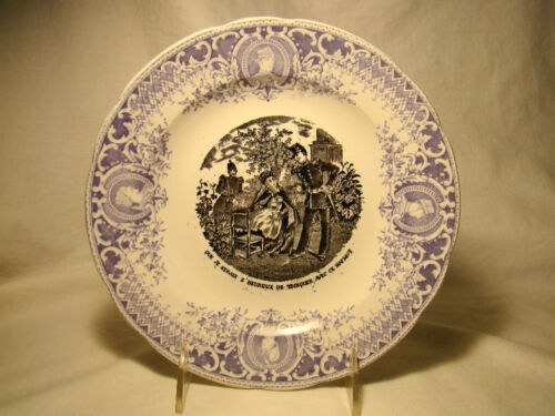 Transferware Pexonne French Fine Faience 2 Color Napoleon Military Plate 19th c