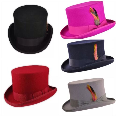 Quality Hand Made 100% Wool  Top Hat in Black, Navy, Grey, Pink and Red Colours