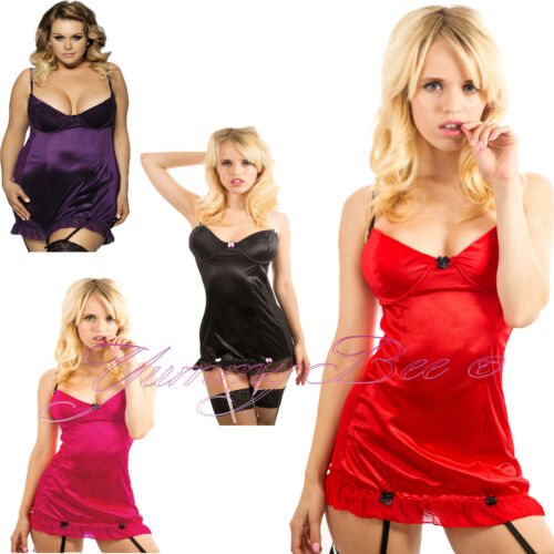 Yummy Bee Satin Chemise Babydoll Lingerie Plus Size 8-30 Suspenders Sexy Dress
