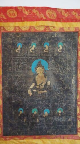Very Fine Large 19th Century Gilded Tibet Thangka Buddha Painting on Silk Linen