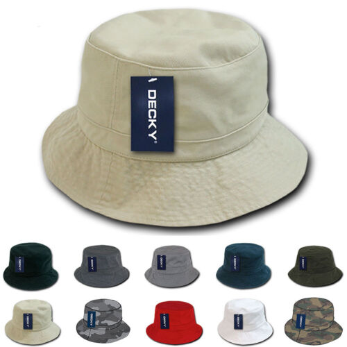 DECKY Fisherman's Bucket Washed Chino Twill Hats Caps Cotton Unisex