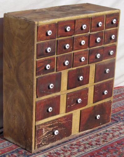 23 DRAWER ANTIQUE MAINE 19TH CT SPONGE PAINT DECORATED TIN DRAWER SPICE CABINET