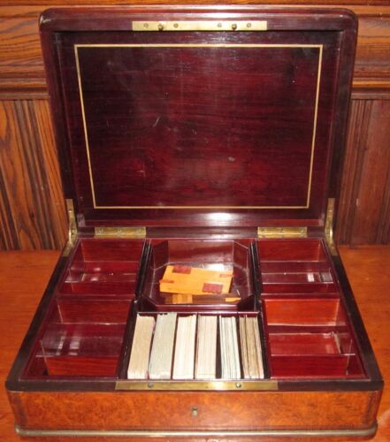 EXCEPTIONAL FRENCH INLAID CARPATHIAN BURLED ELM GAME BOX BY SUSSE FERES PARIS