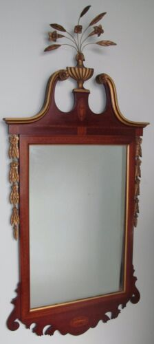 FINELY INLAID FEDERAL MAHOGANY MIRROR WITH CARVED & GOLD GILT EMBELLISHMENTS