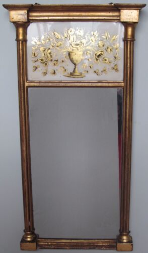 FINE EARLY 19TH CENTURY EGLOMISE PANELED MIRROR BY JOHN DAGGET ROXSBURY-BOSTON