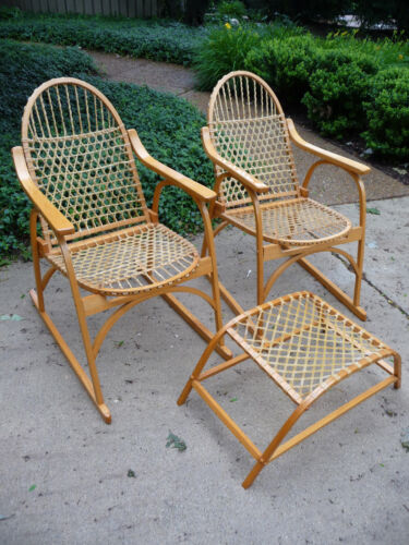 VINTAGE VERMONT TUBBS MID CENTURY MODERN SNOWSHOE OAK CHAIRS AND HASSOCK SET
