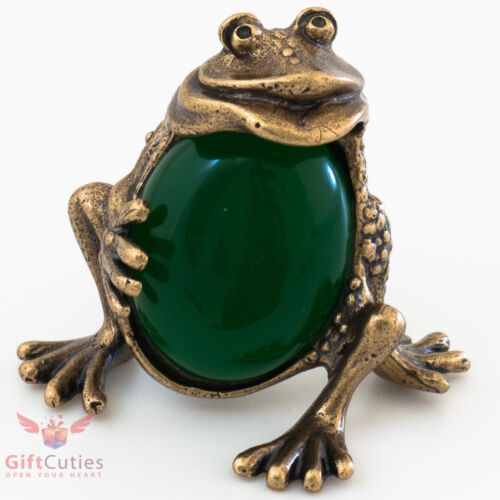 Russian Solid Brass Synthetic Chrysoprase charming Frog Talisman IronWork