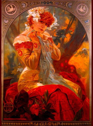 Lefevre Utile French Nouveau Alphonse Mucha Vintage Advertisement Poster