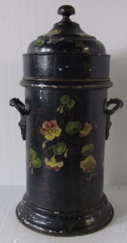 ANTIQUE 19TH CENTURY TOLE PAINTED BOTTLE COOLER WITH PORCELAIN LINED INTERIOR