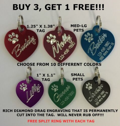 Custom Engraved Heart Paw Print Pet Tag Dog Cat ID Name Animal - 10 COLORS