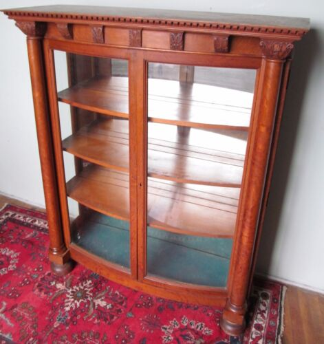 19TH CENTURY VICTORIAN CARVED OAK CURVED GLASS CHINA CABINET - PAINES FURNITURE