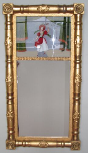 SHERATON PERIOD REVERSE GLASS PAINTED ANTIQUE MIRROR POWERFUL GOLD GILT FRAME