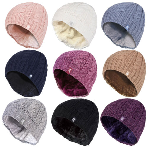Heat Holder - Womens 3.4 Tog Thermal Fleece Lined Heat Weaver Cable Knit Hat