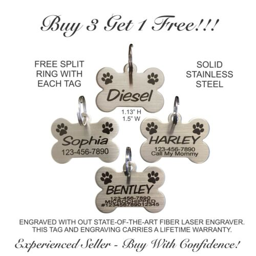 Custom Engraved STAINLESS STEEL Bone Paw Print Pet Tag Dog Cat ID IDENTIFICATION