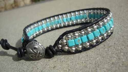 Men's Silver and Turquoise Beaded Wrap Black Leather Bracelet handmade USA