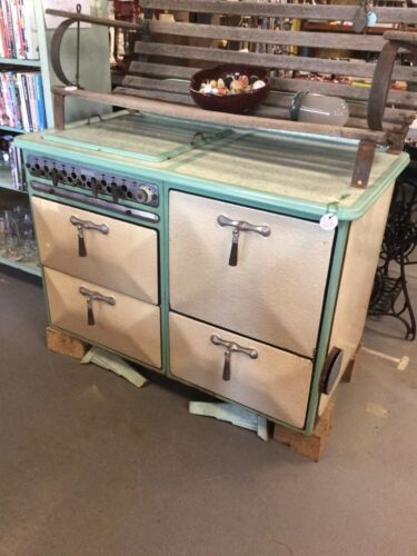 Vintage Enamel Gas Stove 1930's Green Cream