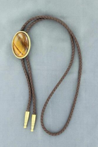 M&F Western Mens Bolo Neck Tie Oval Tigers Eye Brown 22840