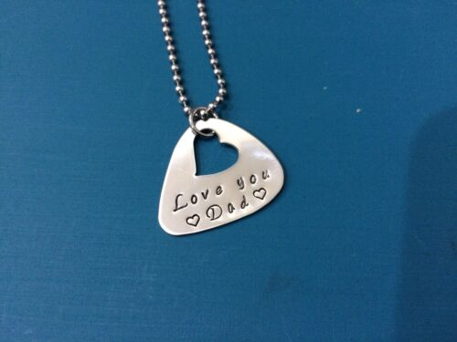 personalised hand stamped stainless steel Guitar Pick Father's Day Pendant