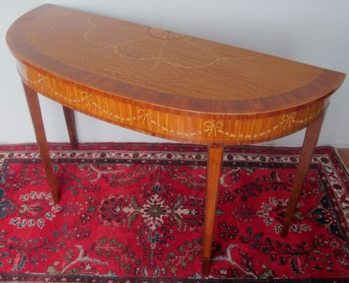 EXQUISITELY INLAID SATINWOOD ADAM'S STYLED GEORGIAN CONSOLE TABLE BY HERITAGE