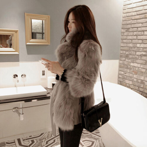 Luxury Women's Slim Faux Fur Coat Outwear Jacket Overcoat Winter Warm Parka