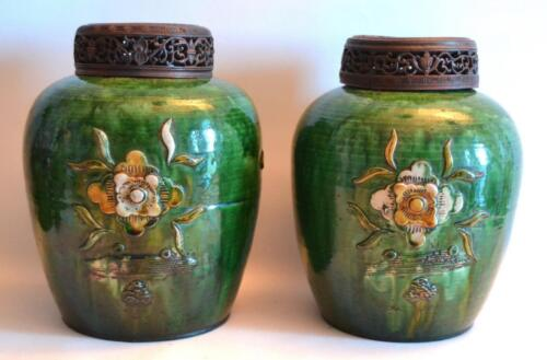 19th Century Pair of Chinese Pottery Vases with Wooden Covers