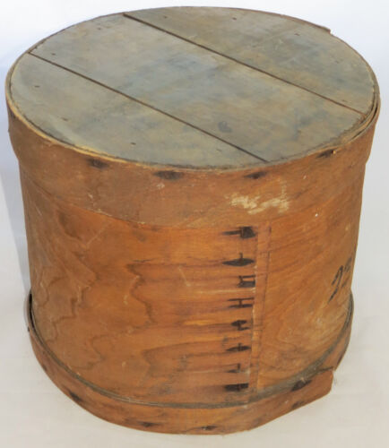 Antique Wood Cheese Box Country Wooden Storage Crate with Lid Farmhouse Decor