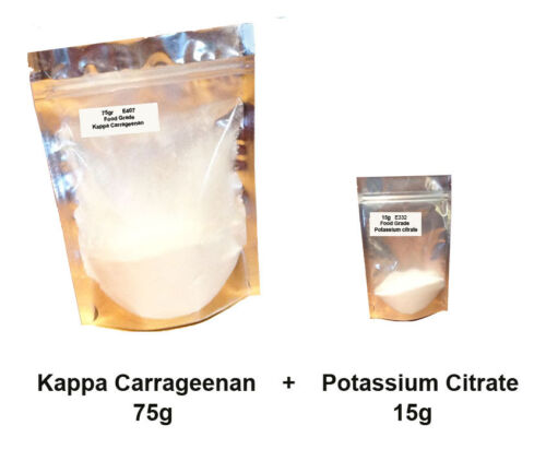 75g of Kappa Carrageenan  E407 + 15g Potassium Citrate E332 - VEGAN  VEGETARIAN