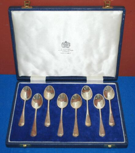 STERLING SILVER HALMARKED MAPPIN & WEBB FLORAL DEMITASSE SPOONS W/CASE ~104~