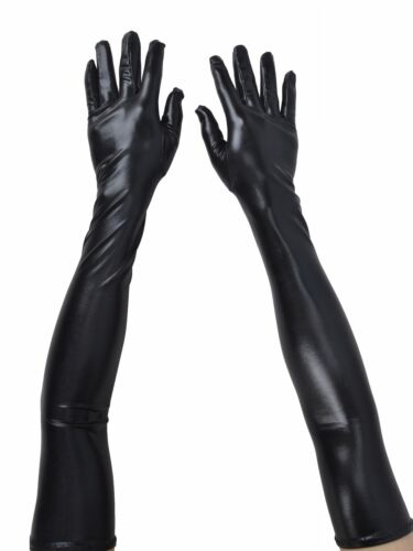 Ladies Leather Evening Party Elbow Length Gloves Black