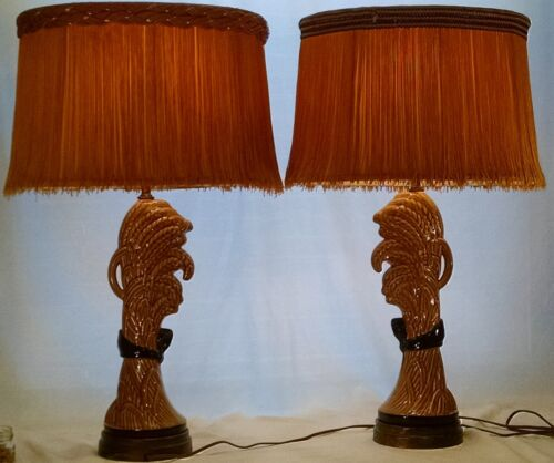VINTAGE REMBRANDT TABLE LAMPS  SET OF 2 WITH ORIGINAL SHADES- RARE!