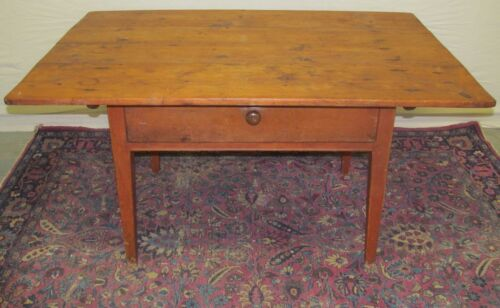 18TH C ANTIQUE SOUTHERN U.S PRIMITIVE QUEEN ANNE TAVERN TABLE ~ SALMON RED PAINT