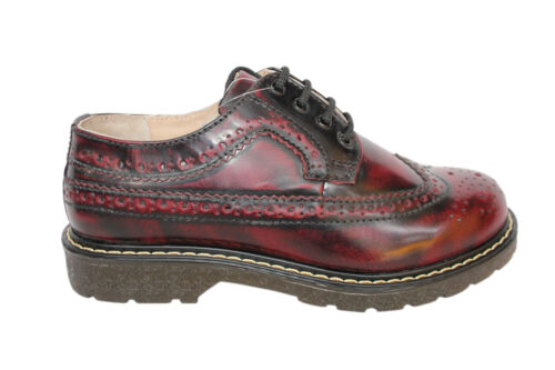 Grinders Bertrum Burgundy Men's Womens American Brogue Lace up Leather Shoes