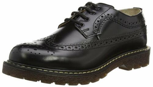 Grinders Bertrum Black Unisex American Brogue Casual Real Leather Lace Up Shoes