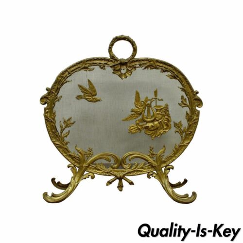 Ornate Antique French Rococo Louis XV Style Cast Bronze Fireplace Fire Screen