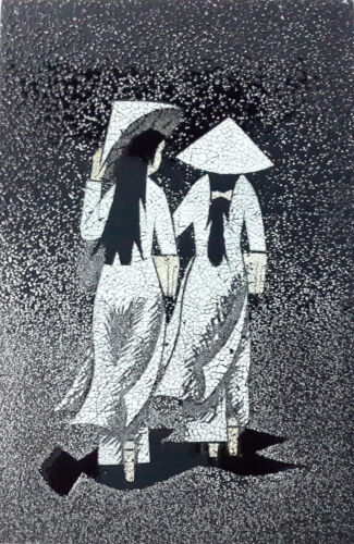 Handmade Art Lacquer - Eggshell Inlaid -Two girl with NONLA -Lacquered picture