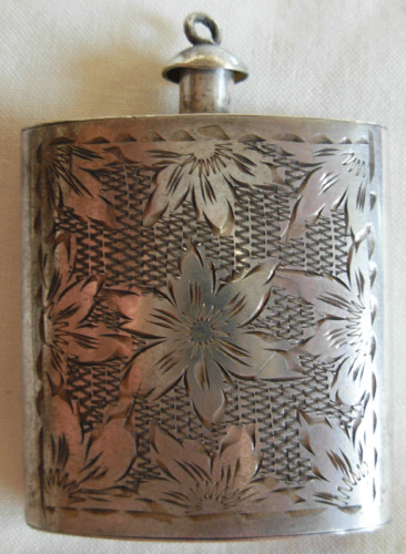 OLD / VINTAGE  833 SILVER HAND ENGRAVED  PERFUME  BOTTLE  BY LG PALESTINE