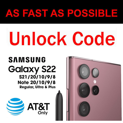 Unlock Code Samsung Galaxy S21 S20 Plus Ultra Fe S10 S9 S8 Note 20 10 9 8 At&t