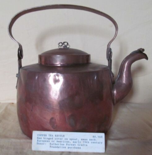 EXCELLENT 1800 LARGE COPPER TEA POT WITH COVERED SPOT
