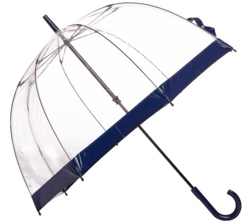 Fulton Birdcage Ladies Walking Length Clear Dome Umbrella with Navy Border