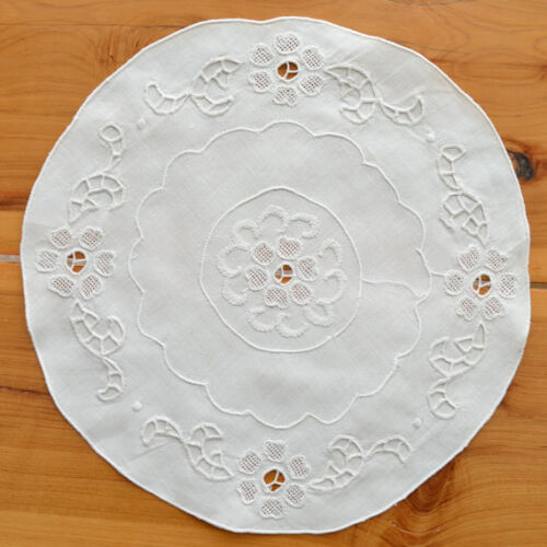 """Vintage 8"""" Round Hand Embroidered Linen Doily Centerpiece Shabby Chic Home Decor"""