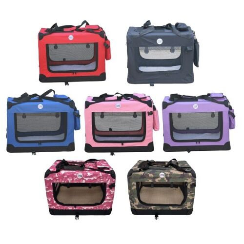 HugglePets Fabric Dog Crate Puppy Carrier - Cat Travel Cage Carry Pet Bag 4 Size <br/> INCLUDES IMITATION SHEEPSKIN MAT & A TREAT BAG!!!