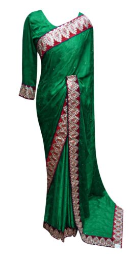 Indian Exclusive border Chiffon saree Bollywood theme party costume apparel 7013