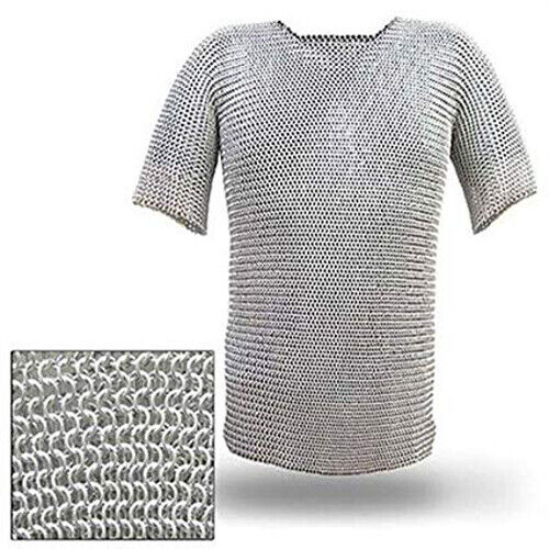 ALUMINIUM CHAINMAIL SHIRT BUTTED ALUMINUM CHAIN MAIL HAUBERGEON MEDIEVAL Reenactment & Reproductions - 156374