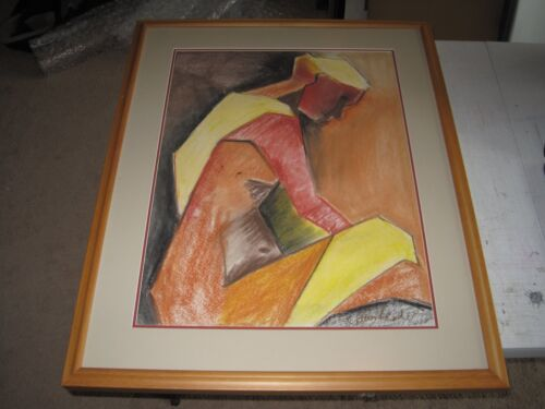 """Kathy Leader, Original Chalk, Signed Matted & Framed Drawing (two) 32x25"""""""