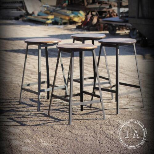Set of 4 Vintage Industrial Steel Machinist Stools