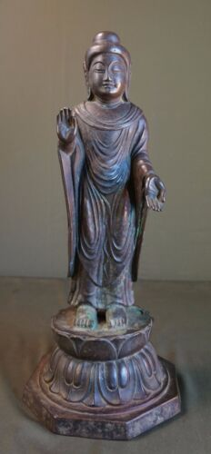 Very Rare XLarge Korean Joseon Dynasty Bronze Buddha Statue Lotus 8 Sided Stand